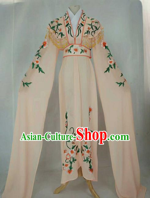 Chinese Traditional Beijing Opera Peri Princess Pink Embroidered Dress Ancient Nobility Lady Costume for Women