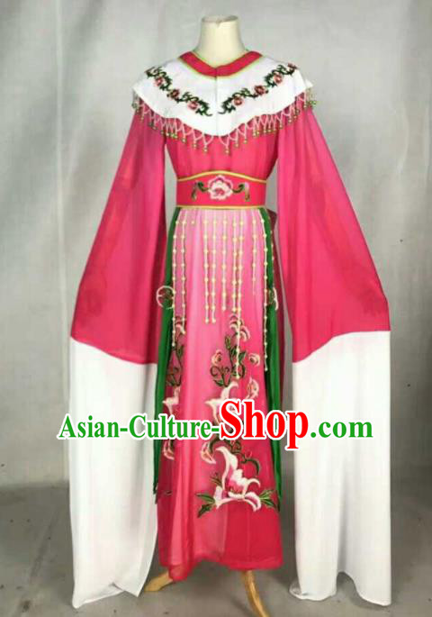 Chinese Traditional Beijing Opera Peri Princess Embroidered Dress Ancient Nobility Lady Rosy Costume for Women
