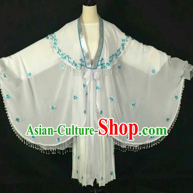 Chinese Traditional Beijing Opera Blues White Dress Ancient Peri Costume for Women