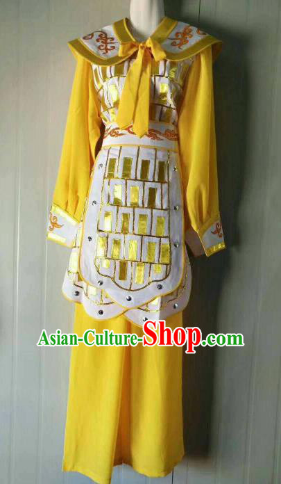 Chinese Traditional Beijing Opera Swordswoman Yellow Dress Peking Opera Blues Costume for Women