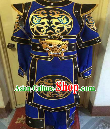 Chinese Traditional Beijing Opera Warrior Embroidered Blue Clothing Peking Opera Takefu Costume for Men