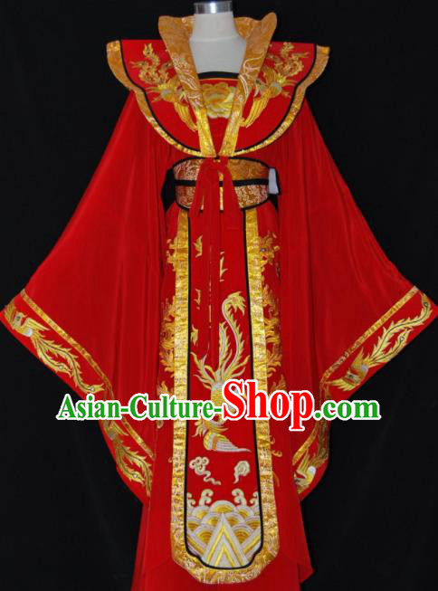 Chinese Traditional Beijing Opera Empress Red Dress Ancient Queen Embroidered Costume for Women