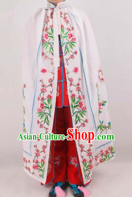 Chinese Traditional Beijing Opera Diva Embroidered White Cloak Ancient Palace Lady Costume for Women