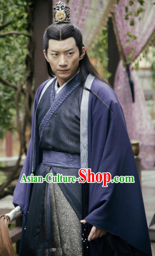 Chinese Ancient Drama Zhao Yao Nobility Childe Swordsman Traditional Embroidered Replica Costume for Men