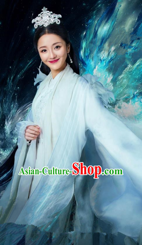 Chinese Ancient Princess White Hanfu Dress Drama Zhao Yao Swordswoman Traditional Costume and Headpiece for Women