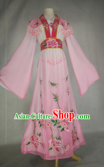 Chinese Traditional Beijing Opera Actress Embroidered Pink Dress Ancient Nobility Lady Costume for Women