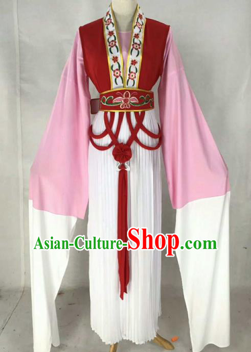 Chinese Traditional Beijing Opera Actress Red Dress Ancient Maidservants Embroidered Costume for Women