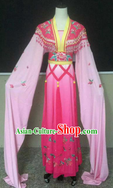 Chinese Traditional Beijing Opera Actress Pink Dress Ancient Peri Princess Embroidered Costume for Women