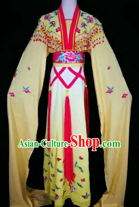 Chinese Traditional Beijing Opera Actress Yellow Dress Ancient Peri Princess Embroidered Costume for Women
