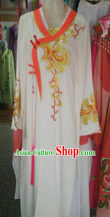 Chinese Traditional Beijing Opera Palace Lady Embroidered Peony White Dress Ancient Peri Princess Costume for Women