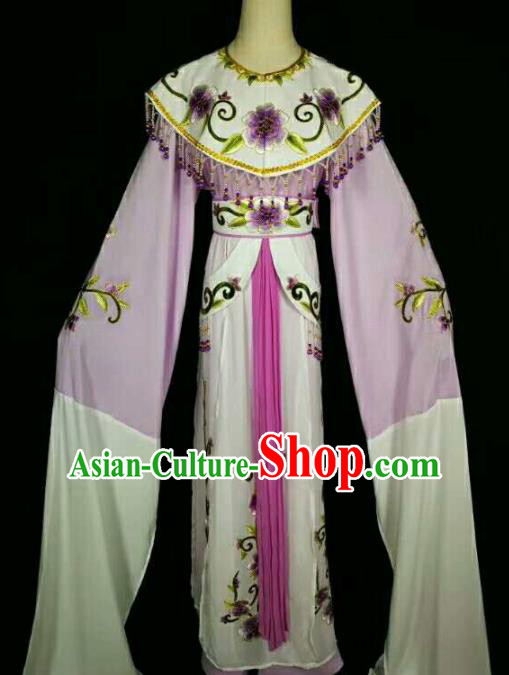 Traditional Chinese Peking Opera Diva Embroidered Peony Purple Dress Ancient Court Princess Costume for Women