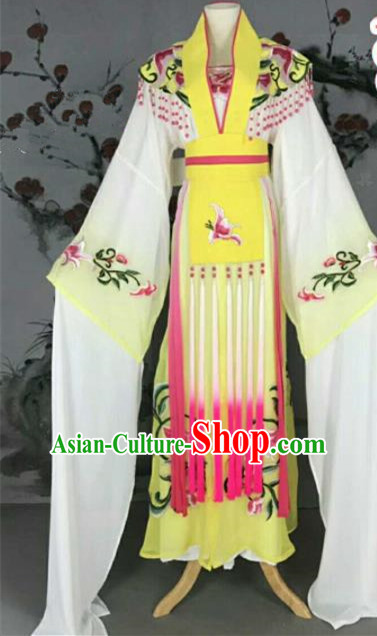 Traditional Chinese Peking Opera Nobility Lady Yellow Dress Ancient Peri Princess Costume for Women
