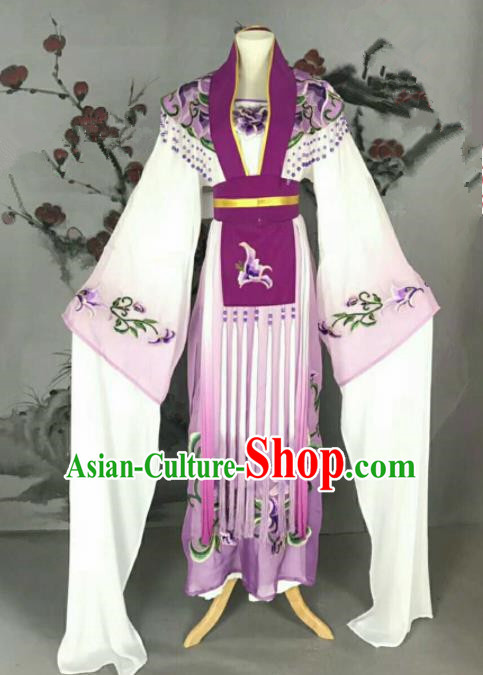 Traditional Chinese Peking Opera Nobility Lady Purple Dress Ancient Peri Princess Costume for Women