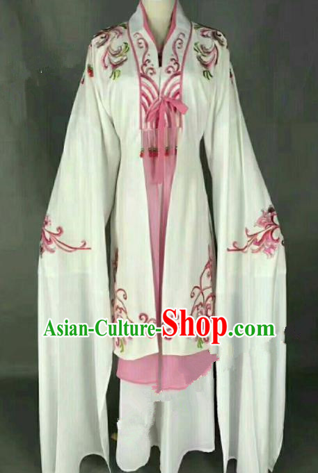 Traditional Chinese Peking Opera Actress White Dress Ancient Peri Princess Costume for Women