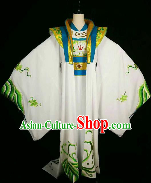 Chinese Traditional Beijing Opera Niche White Clothing Ancient Prince Embroidered Costume for Men