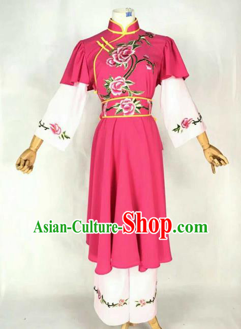 Traditional Chinese Peking Opera Maidservants Embroidered Rosy Dress Ancient Village Girl Costume for Women