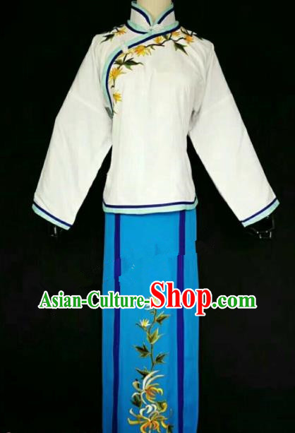 Chinese Traditional Peking Opera Artiste Costume Ancient Maidservants Embroidered Dress for Women