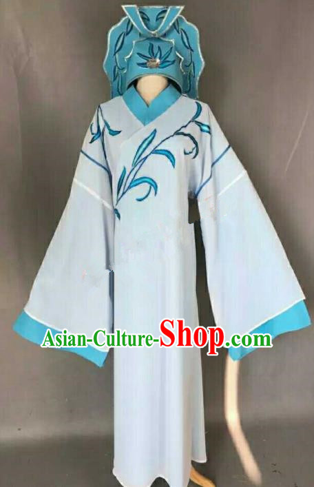 Chinese Traditional Peking Opera Niche Costume Ancient Number One Scholar Embroidered Blue Robe for Men
