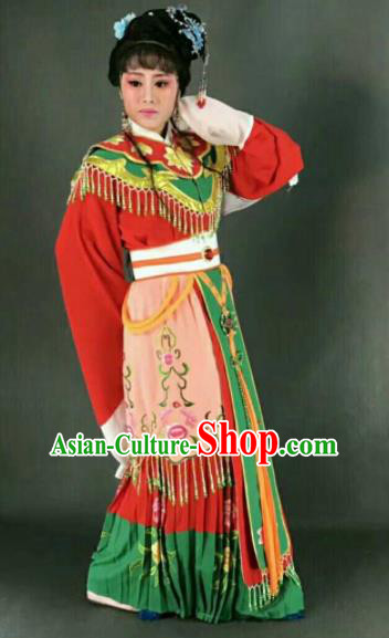 Chinese Traditional Peking Opera Artiste Costume Ancient Princess Embroidered Red Dress for Women