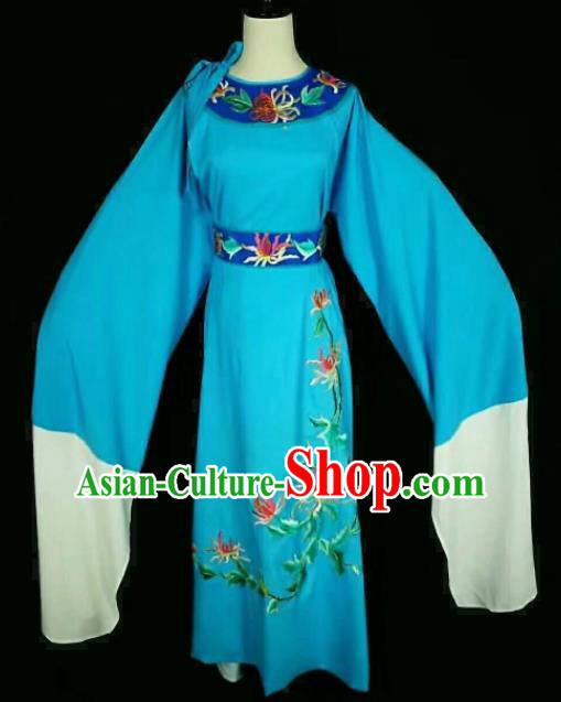 Chinese Traditional Peking Opera Niche Costume Ancient Scholar Embroidered Blue Robe for Men