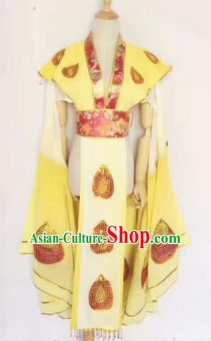 Chinese Traditional Peking Opera Artiste Costume Ancient Peri Embroidered Yellow Butterfly Dress for Women