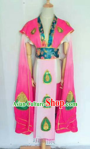 Chinese Traditional Peking Opera Artiste Costume Ancient Peri Embroidered Rosy Butterfly Dress for Women