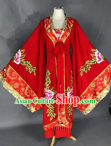 Chinese Ancient Queen Embroidered Red Dress Traditional Peking Opera Artiste Costume for Women