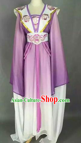 Chinese Ancient Peri Embroidered Purple Dress Traditional Peking Opera Princess Costume for Women