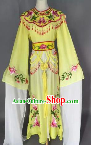 Chinese Ancient Court Princess Embroidered Yellow Dress Traditional Peking Opera Artiste Costume for Women