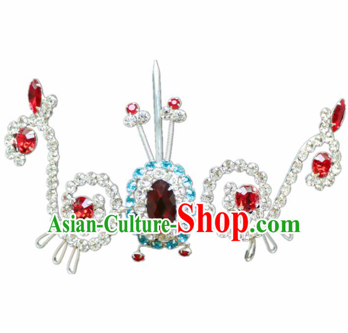 Chinese Ancient Princess Crystal Hairpins Traditional Peking Opera Artiste Hair Accessories for Women