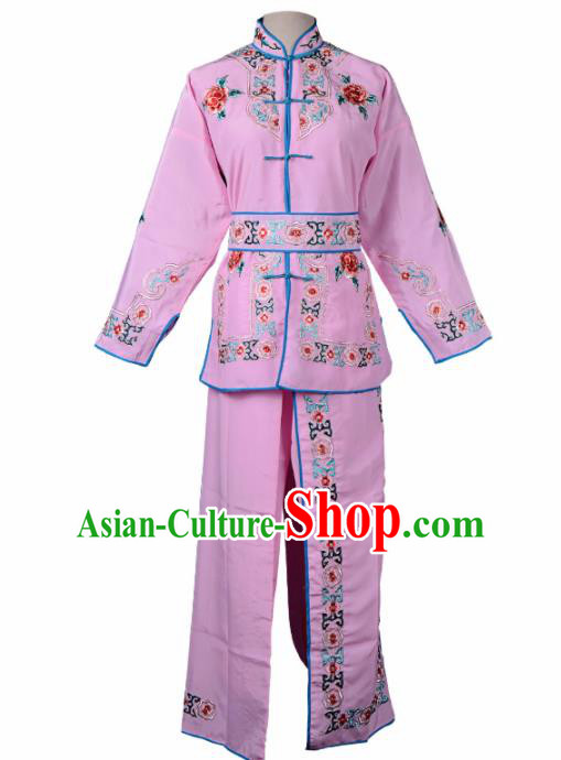 Professional Chinese Traditional Beijing Opera Blues Costume Ancient Swordswomen Pink Clothing for Kids