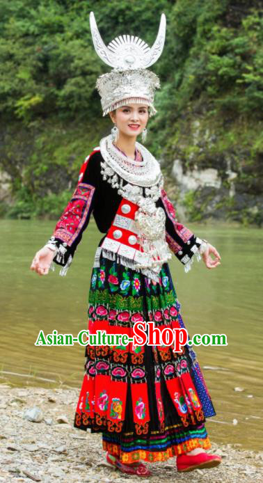 Chinese Traditional Ethnic Folk Dance Costume Miao Nationality Embroidered Dress and Headdress for Women