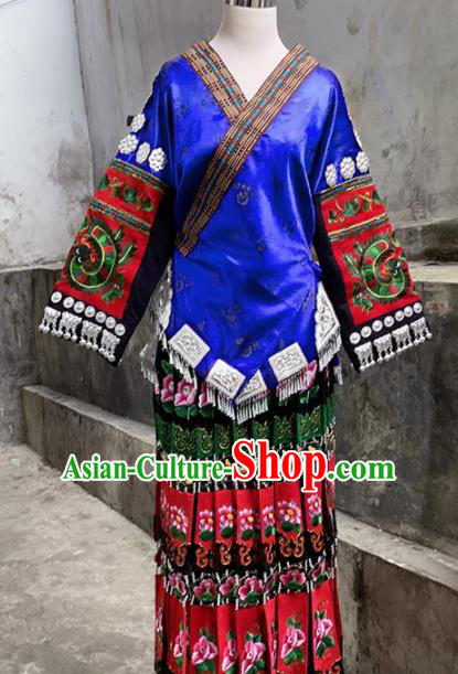 Chinese Traditional Ethnic Folk Dance Costume China Miao Nationality Embroidered Dress for Women