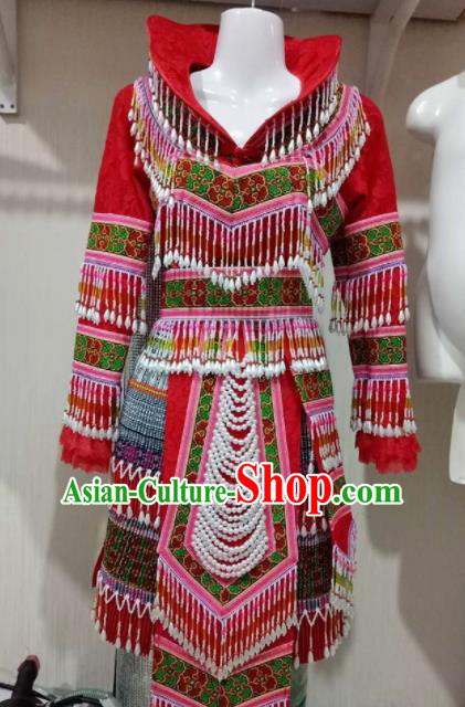 Chinese Traditional Ethnic Folk Dance Costume China Miao Nationality Red Dress for Women