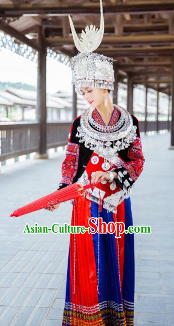 Chinese Traditional Hmong Ethnic Folk Dance Costume China Miao Nationality Dress for Women