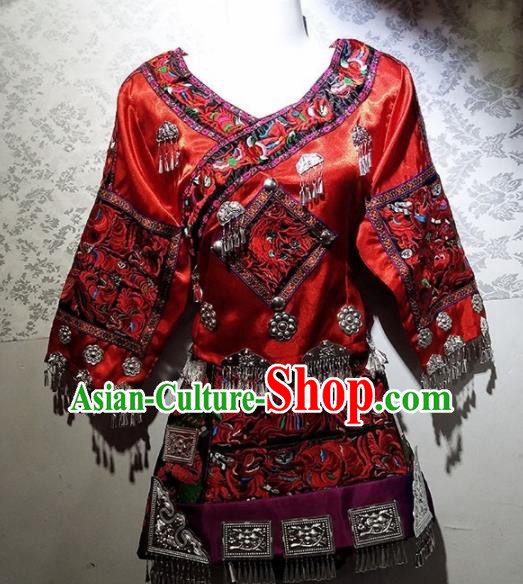 Chinese Traditional Hmong Ethnic Folk Dance Costume China Miao Nationality Embroidered Red Dress for Women
