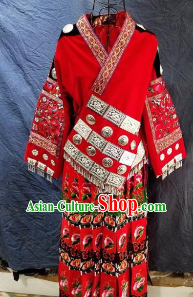 Chinese Traditional Hmong Ethnic Costume Miao Nationality Folk Dance Embroidered Red Dress for Women