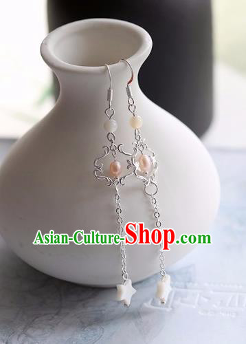 Chinese Traditional Hanfu Ear Accessories Ancient Princess Tassel Pearl Earrings for Women