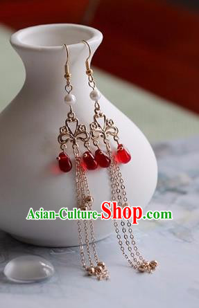 Chinese Traditional Hanfu Ear Accessories Ancient Princess Red Earrings for Women