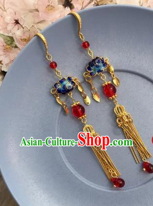 Chinese Traditional Hanfu Golden Ear Accessories Ancient Princess Hanfu Blueing Earrings for Women