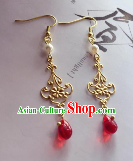 Chinese Traditional Hanfu Ear Accessories Ancient Princess Hanfu Golden Earrings for Women