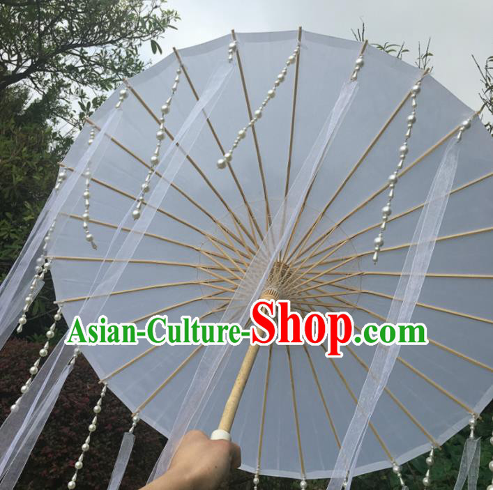 Chinese Ancient Drama Prop Beads Tassel Umbrella Traditional Handmade White Ribbon Umbrellas