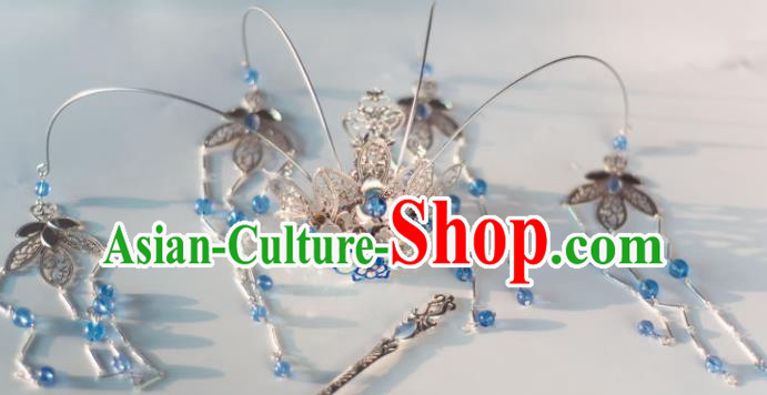 Chinese Ancient Princess Blue Beads Tassel Phoenix Coronet Hairpins Traditional Hanfu Hair Accessories for Women