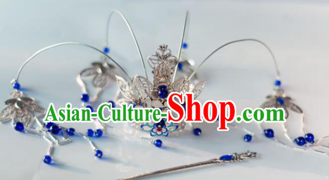 Chinese Ancient Princess Royalblue Beads Tassel Phoenix Coronet Hairpins Traditional Hanfu Hair Accessories for Women