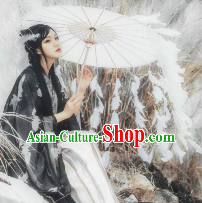 Chinese Ancient Princess Feather Tassel Umbrella Traditional Handmade Hanfu Paper Umbrellas for Women