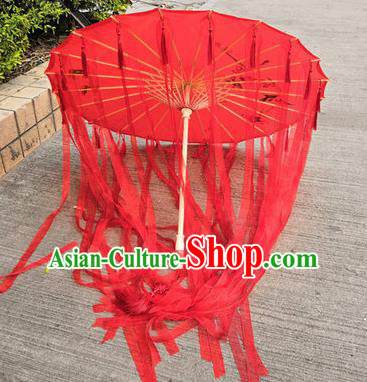 Chinese Ancient Drama Prop Princess Red Ribbon Umbrella Traditional Handmade Umbrellas for Women