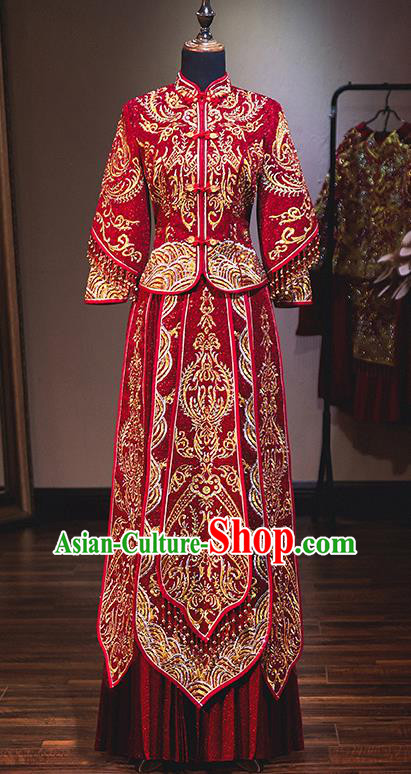 Chinese Traditional Bride Red Xiuhe Suit Ancient Wedding Embroidered Diamante Dress for Women