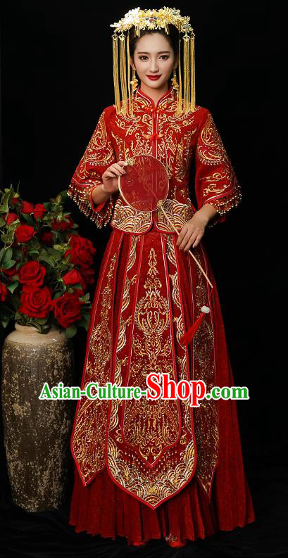 Chinese Traditional Bride Diamante Xiuhe Suit Ancient Wedding Red Embroidered Dress for Women