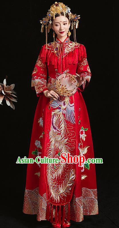 Chinese Traditional Bride Red Xiuhe Suit Ancient Wedding Embroidered Phoenix Peony Dress for Women