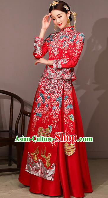 Chinese Traditional Bride Costume Embroidered Xiuhe Suit Ancient Wedding Dress for Women